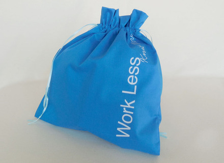 """Edict Project Bag """"Work Less, Knit More"""" picture"""