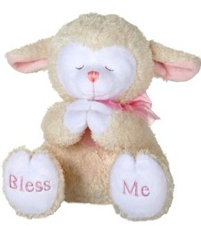 "Fiesta Stuffed Praying Lamb With Sound - Pink 8"" picture"