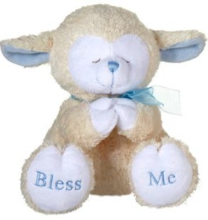 "Fiesta Stuffed Praying Lamb With Sound - Blue 8"" picture"
