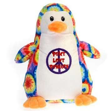 Fiesta Stuffed Tie-Dye Penguin &quot;Peace, Love Penguin&quot; 12&quot; picture