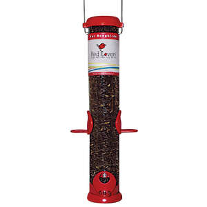 "Bird Lovers 15"" Sunflower/Mixed Seed Feeder with Red Accents picture"
