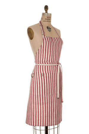 Mulberry Red & Oatmeal Stripe Linen Bib Apron picture