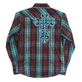 Youth Cross Embroidered Distressed Long Sleeve Plaid