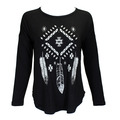 Aztec Feathers Long Sleeve Lace Back