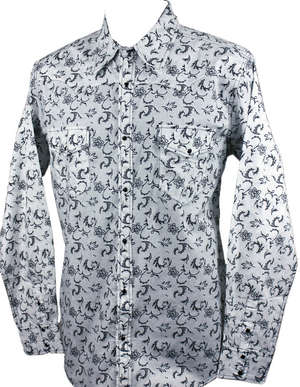 Dot Floral L/S Print, White/Black picture