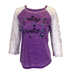 Stay Wild Raglan 3/4 Lace Sleeve picture