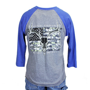 HUNTERS Hardware Camo Skull Flag Long Sleeve Raglan Tee picture