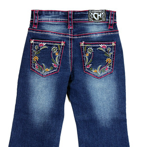 Youth Girls Floral Trim Jean picture