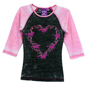 Youth Horse Wreath Raglan 3/4 Sleeve picture