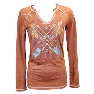Crossed Arrows Faux Suede Long Sleeve Tee picture