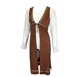 Die Cut Faux Suede Long Vest picture