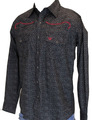 Barb w/Steer Emb. L/S Hayfield Print, Black