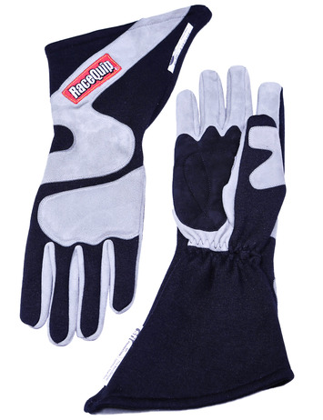 2-LYR SFI-5 GLOVE X-LARGE BLACK ANGLE CUT LONG GAUNTLET picture