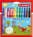 STABILO power max fibre-tip pen cardboard wallet of 12 colours