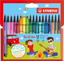 STABILO Pen 68 Mini premium fibre-tip pen cardboard wallet of 18 colours