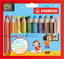 STABILO woody 3 in 1 wallet of 10 colours with sharpener