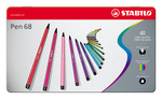STABILO Pen 68 box in metal with 40 colours