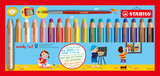 STABILO woody 3 in 1 wallet of 18 colours with sharpener and paint brush