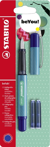 STABILO beFab! calligraphy fountain pen with 3 blue ink cartridges - DIGITAL lined turquoise picture