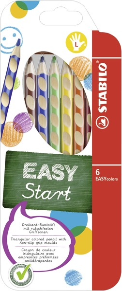 STABILO EASYcolors ergonomic coloured pencil left handed - wallet of 6 colours picture