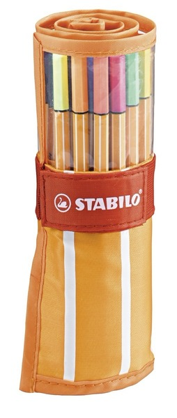 STABILO point 88 fineliner - orange/white rollerset of 30 including 5 neon colours picture