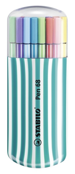 STABILO Pen 68 Dark Turquoise Zebrui Case of 20 Assorted picture