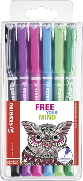 STABILO SENSOR fineliner with cushioned tip - wallet of 6 colours picture