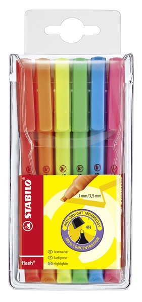 STABILO flash highlighter - wallet of 6 colours picture
