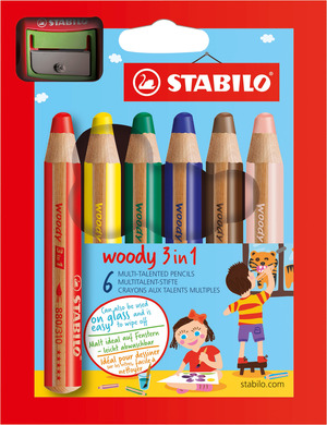STABILO woody 3 in 1 wallet of 6 colours with sharpener picture