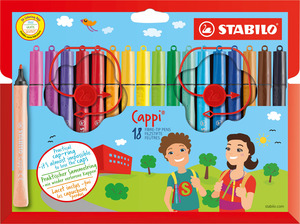 STABILO Cappi fibre-tip pen with cap-ring cardboard wallet of 18 colours picture