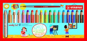 STABILO Woody, Box of 18pcs Assorted with Sharpener and Paint Brush picture