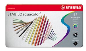 STABILOaquacolor, aquarellable coloured pencil, metal box of 12 colours picture