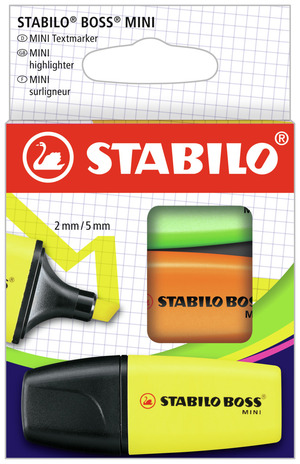 STABILO BOSS MINI highlighter - pack of 3 colours (yellow, green, orange) picture