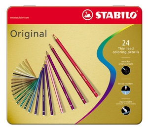 STABILO Original Metal Box of 24 assorted picture