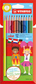 STABILO color, coloured pencil, cardboard wallet of 12 colours including 2 fluorescent colours