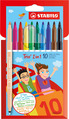 STABILO Trio 2 in 1 fibre-tip pen and fineliner in one cardboard wallet of 10 colours