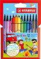 STABILO Pen 68 Mini premium fibre-tip pen cardboard wallet of 12 colours