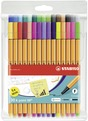 STABILO point 88 fineliner - wallet of 30 including 5 neon colours