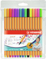 STABILO point 88 fineliner - wallet of 15 including 5 neon colours