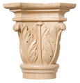 """Small Acanthus Capital(Accepts up to 1"""" x 1/2""""), Sold 2 per package, 2 3/8''w x 2 3/8''h x 1 1/8''d, Maple"""