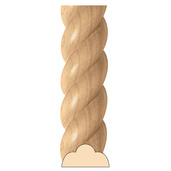 """Large Rope Moulding, 4""""w x 2""""d x 8' lengths, Maple"""