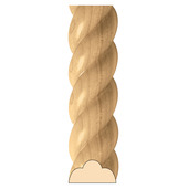 Large Rope Half Round Lineal, 2''w x 1''d x 8' length, Maple