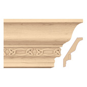 """Light Rail Crown Moulding With Gaelic Insert, 5""""w x 13/16""""d x 8' length, Maple"""