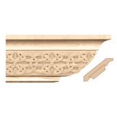 Crown Moulding With Gaelic Insert, 4 1/4 x 5/8 x 8' length, Maple