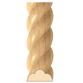 """Small  Rope Moulding, 2 1/2""""w x 1 1/4""""d x 8' lengths, Maple"""