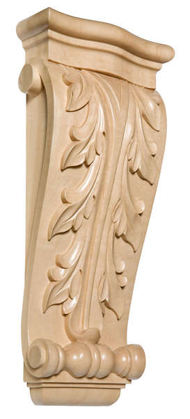 "Large Acanthus Corbel, 6 1/2""w x 15""h x 2 1/2""d, Maple picture"