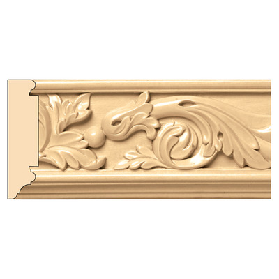 """Acanthus Scrolls(Repeats 10""""), 3 1/2'' x 13/16'' x 8' length, Maple picture"""