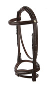 RAISED PADDED SNAFFLE WITH FLASH NOSEBAND PADDED HEADPIECE AND NYLON LINED REINS