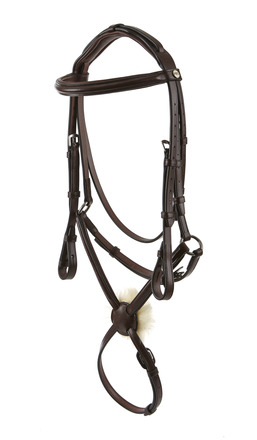 RAISED PADDED SNAFFLE WITH MEXICAN GRAKLE PADDED HEADPIECE AND NYLON LINED REINS picture