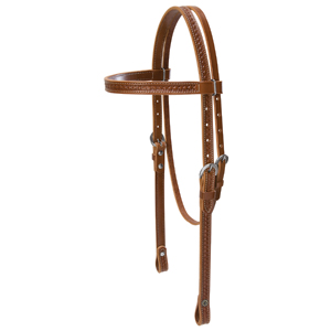 Hand Tooled Browband Headstall with Wagon Wheel Border picture